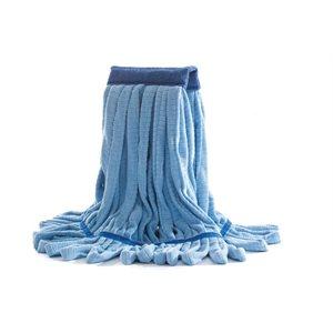 Vadrouille humide 12oz en microfibre bleu brins bouclés