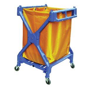 Blue 'X' frame folding cart with yellow vinyl bag