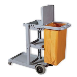 Gray cart with lid and vinyle bag