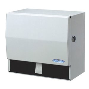 "Universal paper / towel disp. with key 10.5""x6.75""x9.5"" white metal"