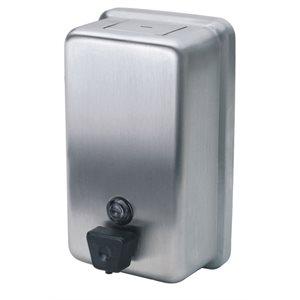 Distributeur à savon verticale bouton poussoir 40 oz acier inoxydable