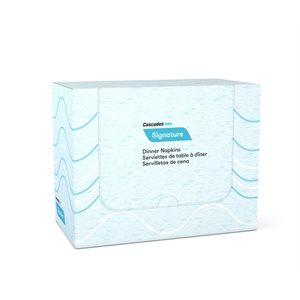 Serviettes de table Airlaid blanc Signature pliure 1 / 8 - 50 / pqt - 8 / cs