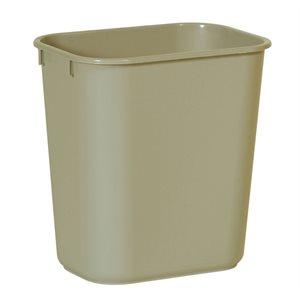 Rectangular wastebasket 3.25gal beige