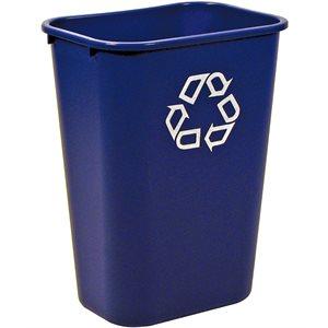 Rectangular recycling wastebasket 10.25gal blue