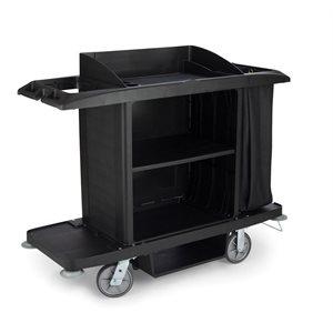 Black housekeeping cart with black bag