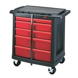 5 drawer mobile work center cap. 250 lbs black
