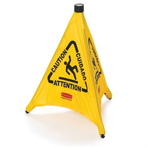 Pop-up safety cone * caution * multilingual yelow