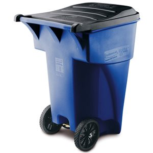 'Roll Out' Brute blue waste receptacle 94.75gal with wheels